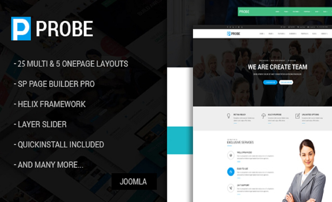 Probe Responsive MultiPurpose Joomla Theme With Page Builder