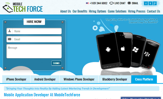 Hire Mobile Application Developer at Mobiletechforce
