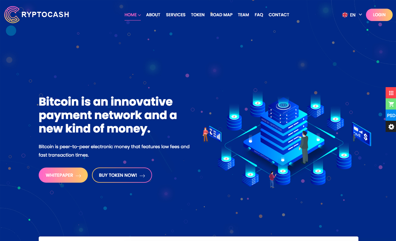Cryptocash ICO Cryptocurrency Landing Page HTML5 Template